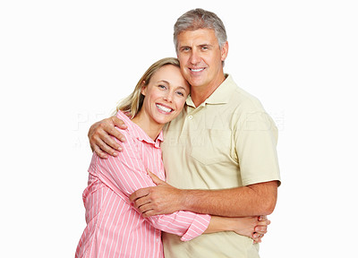 Buy stock photo Portrait of happy mature couple on white background