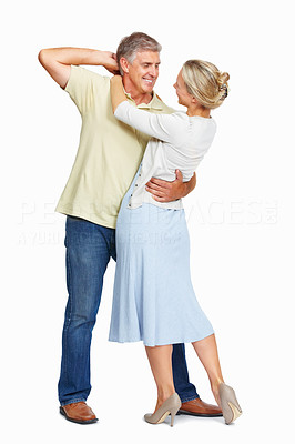 Buy stock photo Full length of mature couple dancing on white background