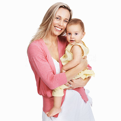 Buy stock photo Portrait of sweet mother with her child over white background