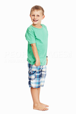 Buy stock photo Full length of cute young boy standing over white background