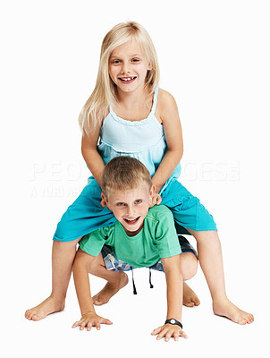 Buy stock photo Full length of young boy giving girl a shoulder ride over white background