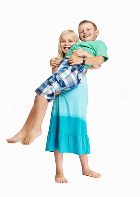 Buy stock photo Portrait of strong young girl carrying boy over white background
