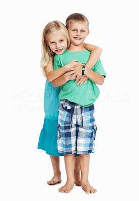 Buy stock photo Full length of girl embracing young boy from behind isolated over white background