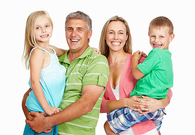 Buy stock photo Portrait of happy family looking at you on white background