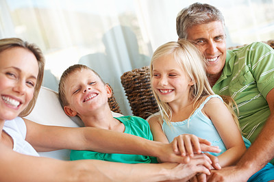 Buy stock photo Happy family spending time together