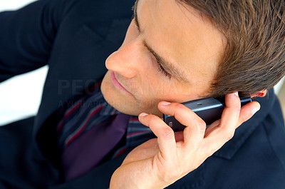 Buy stock photo Businessman making a phone call. 