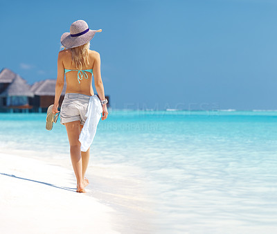 Buy stock photo Portrait of a sensual young woman walking through the beach - Vacation
