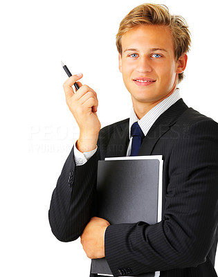 Buy stock photo Studio shot of a young businessman isolated on white
