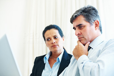 Buy stock photo Smart and serious business executives looking at the compute screen