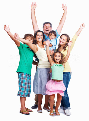 Buy stock photo Portrait of happy family raising hands together on white background