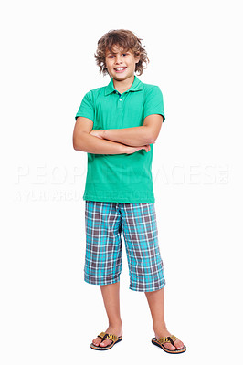 Buy stock photo Full length of a cute little boy with hands folded on white background