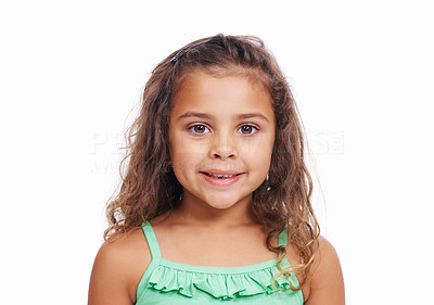Buy stock photo Closeup portrait of cute little girl isolated on white background