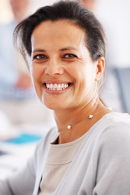Buy stock photo Closeup of cheerful business woman with an attractive smile