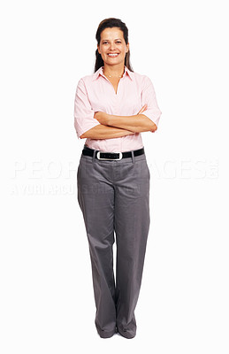 Buy stock photo Full length of beautiful business woman with hands folded on white background