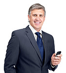 Handsome mature businessman with a cellphone in hand