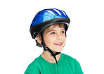 Happy adorable boy wearing a helmet