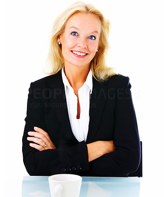 Buy stock photo Portrait of a mature businesswoman standing with her arms folded isolated on a white background