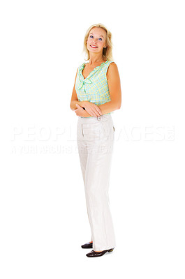 Buy stock photo Full length studio shot of a mature woman isolated on white