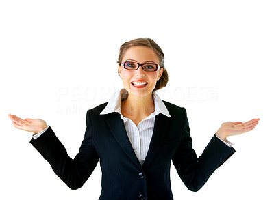 Buy stock photo Portrait of a young businesswoman. with her hands outstretched, as though she is presenting something.
