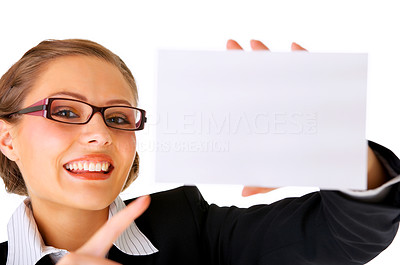 Buy stock photo Portrait of a beautiful businesswoman holding a blank notecard.