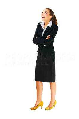 Buy stock photo Full-body portrait of a surprised business woman looking upward, to the corner. Isolated.