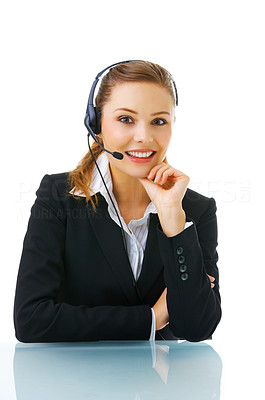 Buy stock photo Isolated portrait of a beautiful helpdesk or support line operator answering a call.