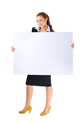 Buy stock photo Portrait of a beautiful happy business woman holding a blank billboard. Ready to add text. This isolate was taken in our studio.