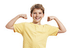Little strong boy showing biceps against white