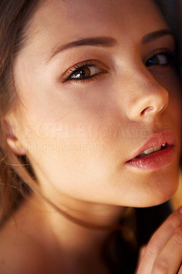 Buy stock photo Closeup portrait of an attractive young woman