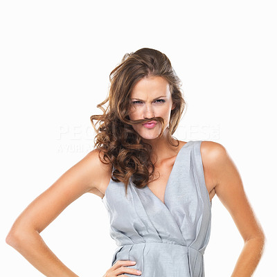 Buy stock photo Portrait of playful woman with moustache made of her hair