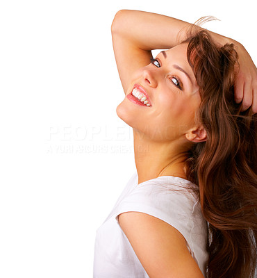 Buy stock photo Cute girl looking at you - Close-up of a young woman with wind in her hair.