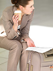 Business woman reading document