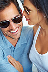 Couple in sunglasses spending time together