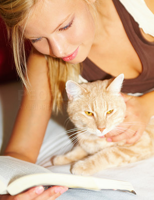 Closeup of a young beautiful girl with a cat reading a book