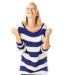Excited young woman celebrating success