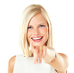 Happy young woman pointing at you
