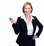 Happy middle aged female lawyer showing something interesting