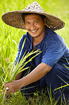 Portrait of a worker in the rice fields of Thailand