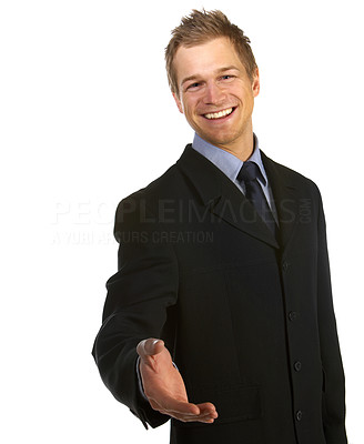 Buy stock photo A trendy young businessman with a blue tie and shirt.
