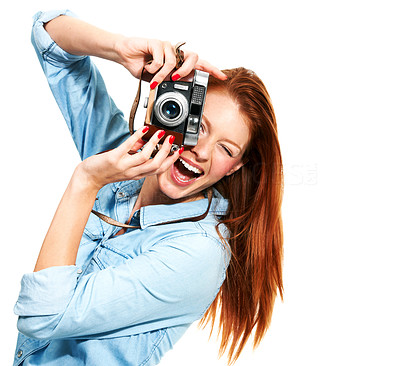 Buy stock photo Portrait of an attractive redhead taking a picture of you