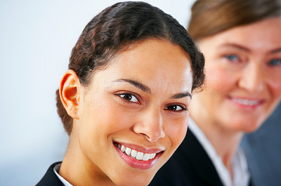 Buy stock photo Young business woman  with her colleagues in the background