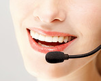 Detail view of a business woman with headset