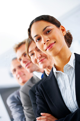 Buy stock photo Visionary young business group