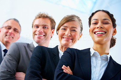 Buy stock photo Visionary young business group - Young business woman with her colleagues in the background