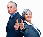 Happy business colleagues giving thumbs up sign over white
