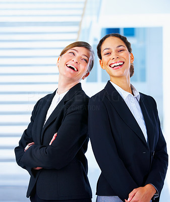 Buy stock photo Girl power - Back to back