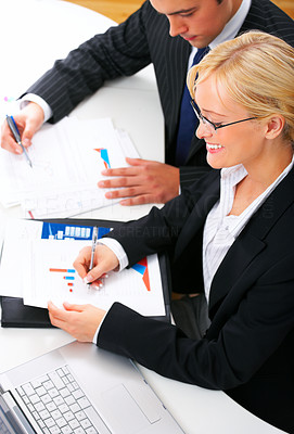 Buy stock photo Portrait of an business executive in an office working with a male colleague. Interaction.