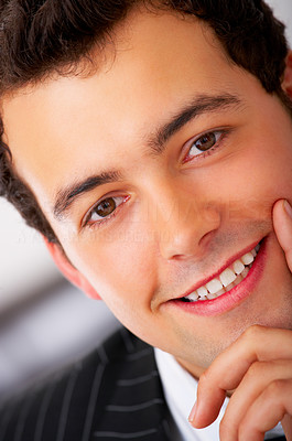 Buy stock photo Close-up portrait of a handsome young business man.