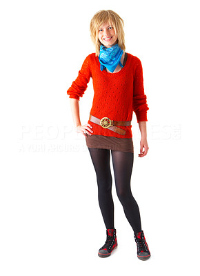 Buy stock photo A happy young blonde girl smiling. Wearing blue scarf and red sweater. This collections unique keyword is: emma123