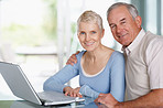 Happy older couple using a laptop with copy space